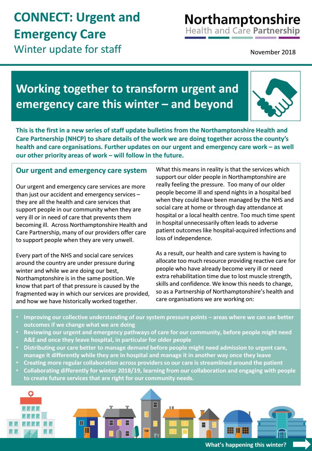 Urgent and Emergency Care - winter update for health and