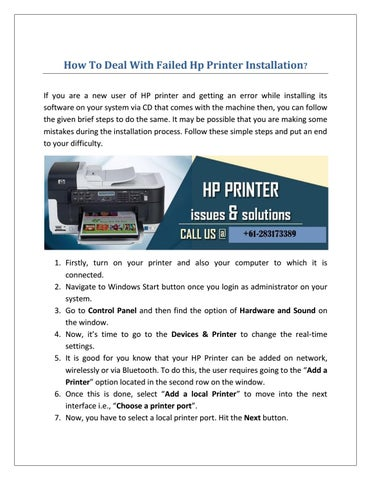 How To Deal With Failed Hp Printer Installation? by HP Printer