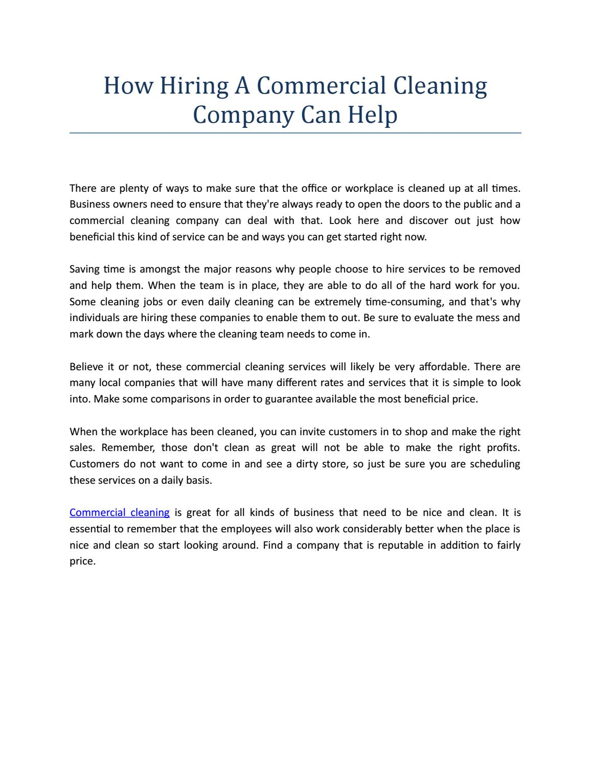 How Hiring A Commercial Cleaning