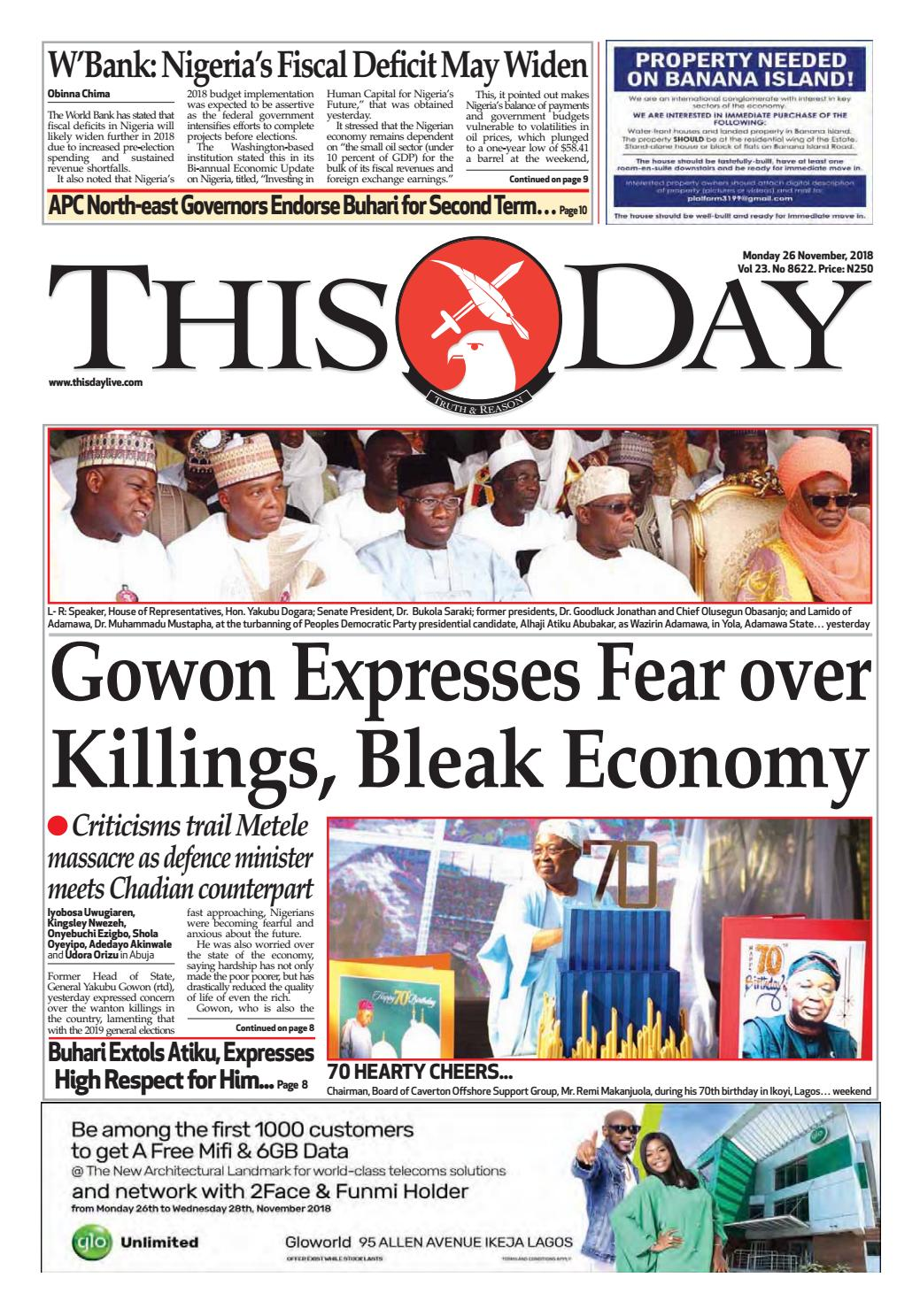 b0b118f1a28d MONDAY 26TH NOVEMBER 2018 by THISDAY Newspapers Ltd - issuu