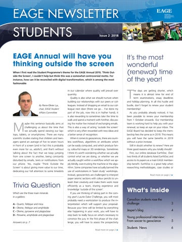 EAGE Student Newsletter 2-2018 by EAGE - issuu