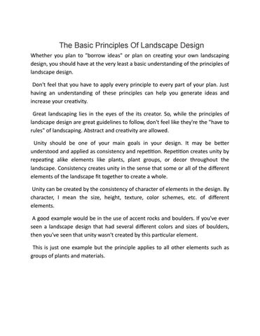 The Basic Principles Of Landscape Design By Surrounds