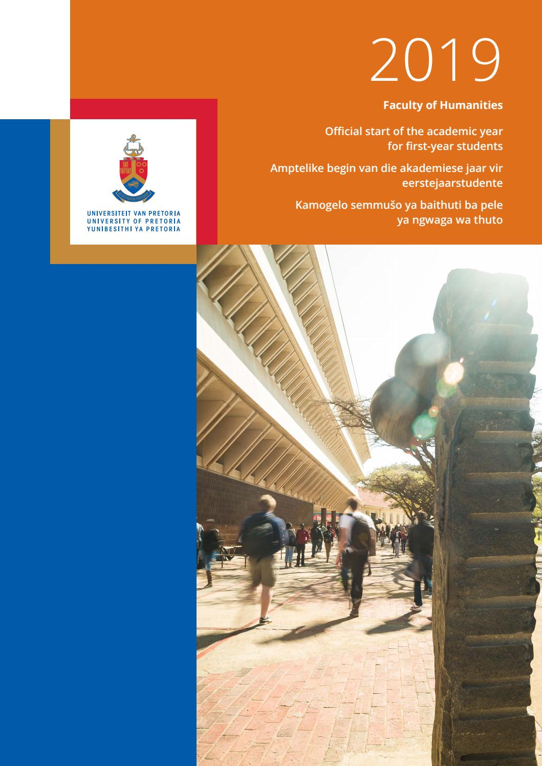 Faculty Of Humanities Orientation Programme For 2019 By University Of Pretoria Issuu