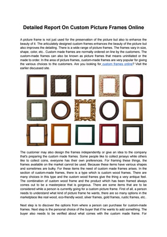 Detailed Report On Custom Picture Frames Online by James