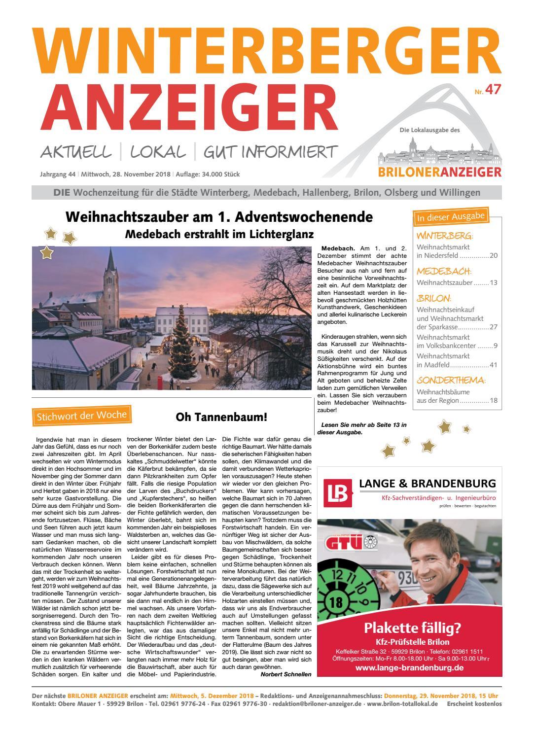 fdb7784914c7 Winterberger Anzeiger Ausgabe vom 28.11.2018 Nr. 47 by Brilon-totallokal -  issuu