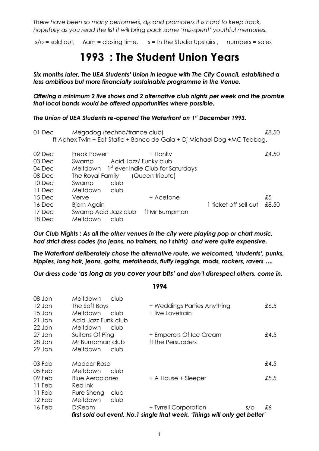 Waterfront Gig List 1993 - 1999 Version 1 by UEA Gig History