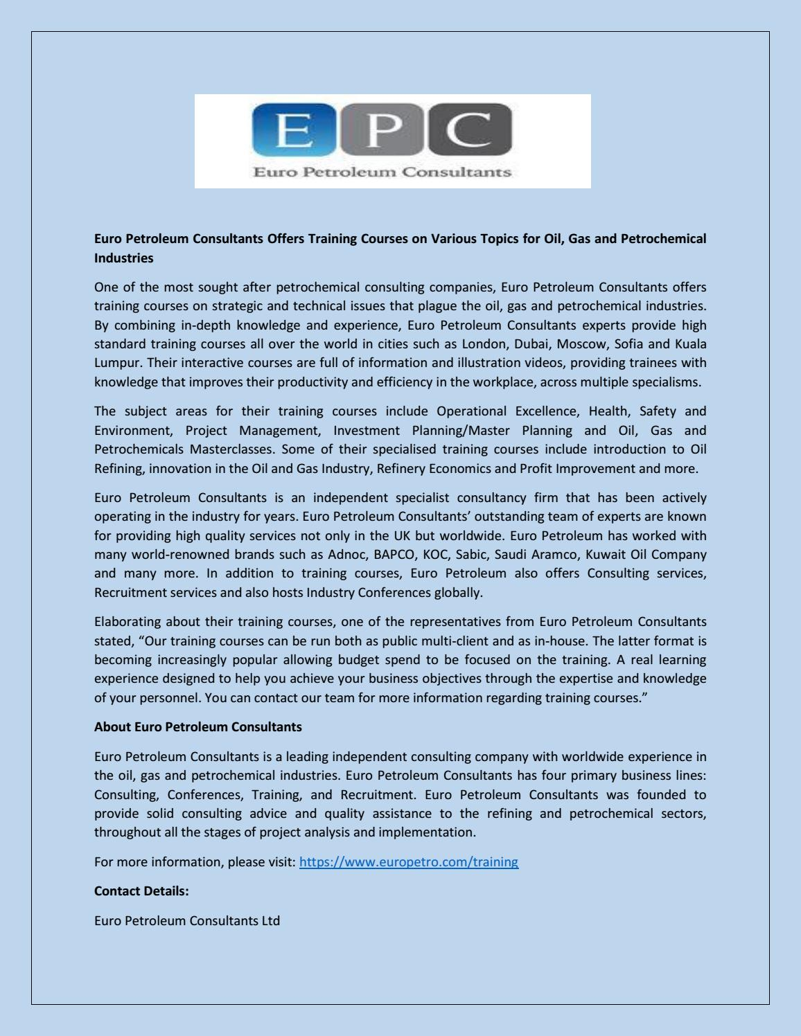 Euro Petroleum Consultants Offers Training Courses on Various Topics