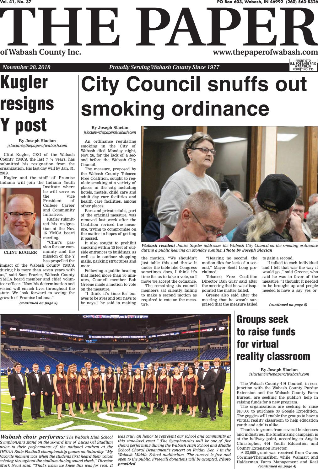 The Paper of Wabash County -- Nov  28, 2018 issue by The