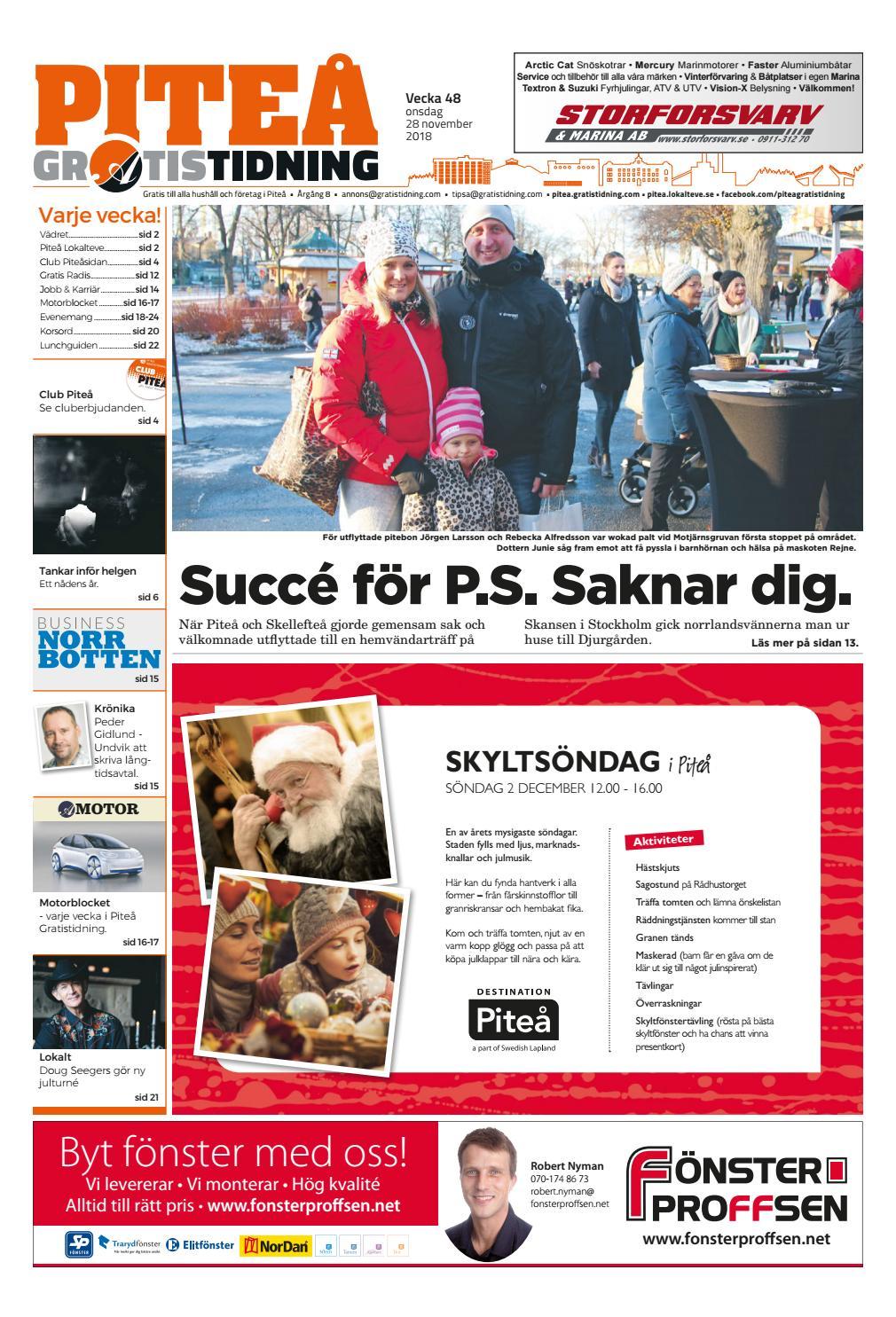 d88d8505401a Piteå Gratistidning vecka 48, 2018 by Svenska Civildatalogerna AB - issuu