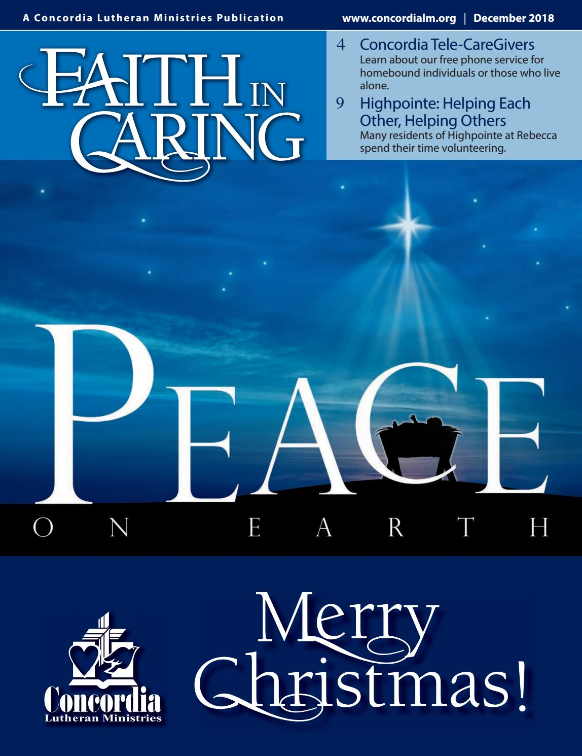 Faith In Caring December 18 by Concordia Lutheran Ministries