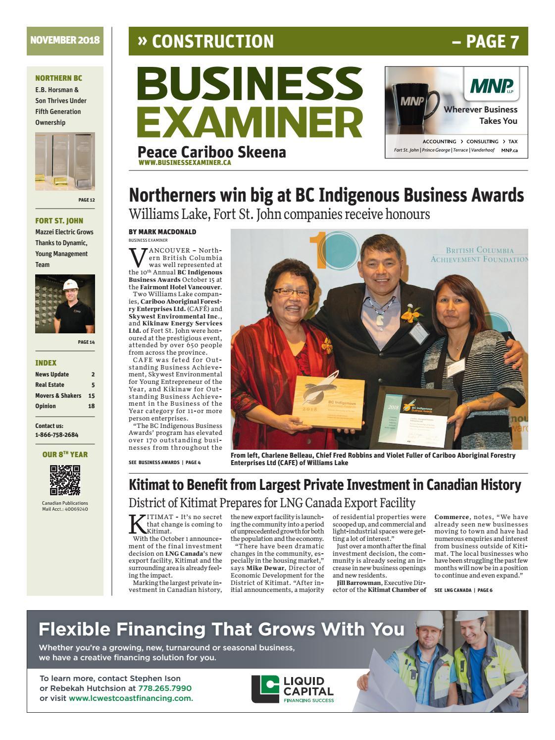 Business Examiner Peace Cariboo - November 2018 by Business Examiner