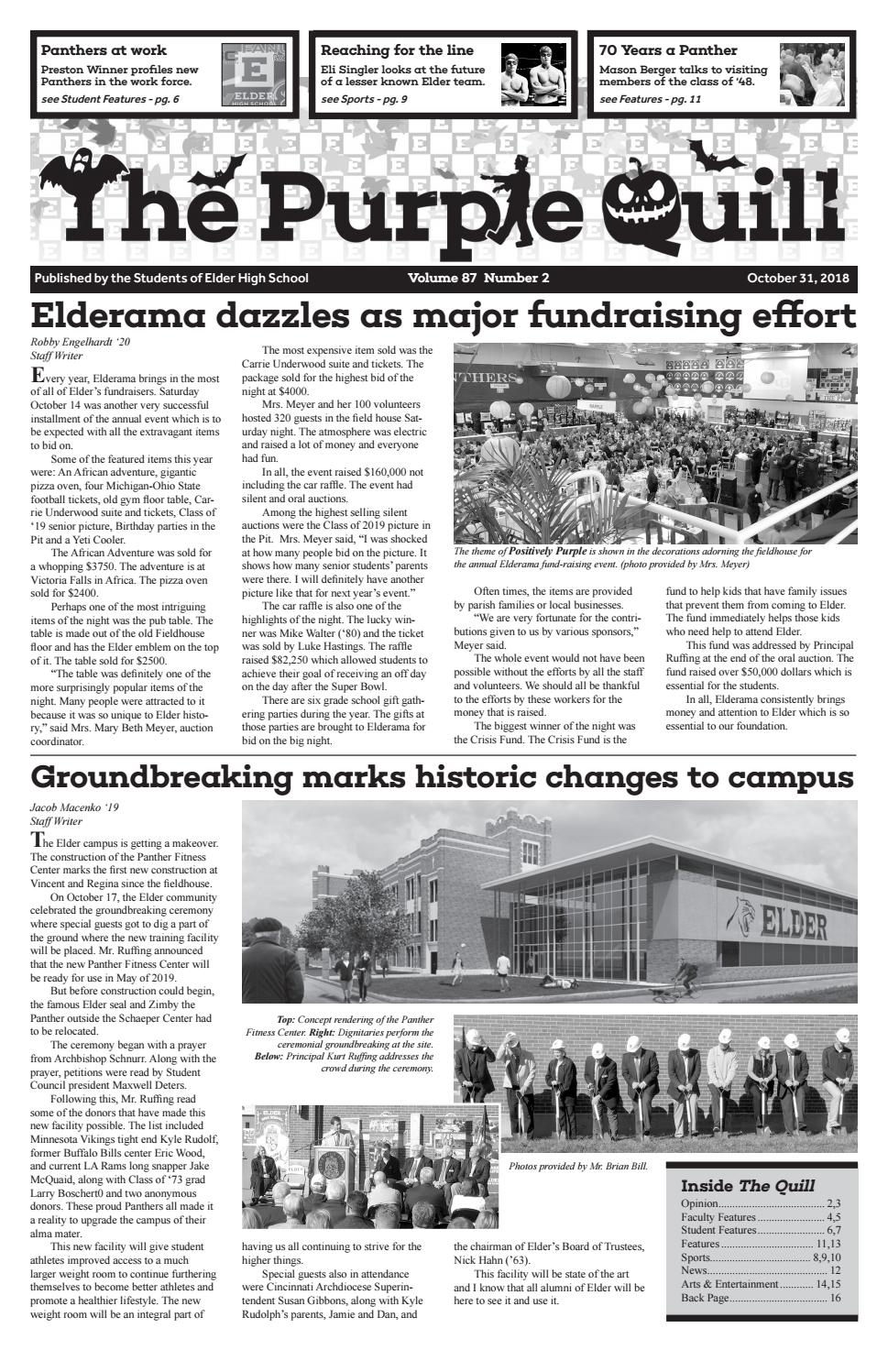 October 2018 issue of The Purple Quill by Elder High School