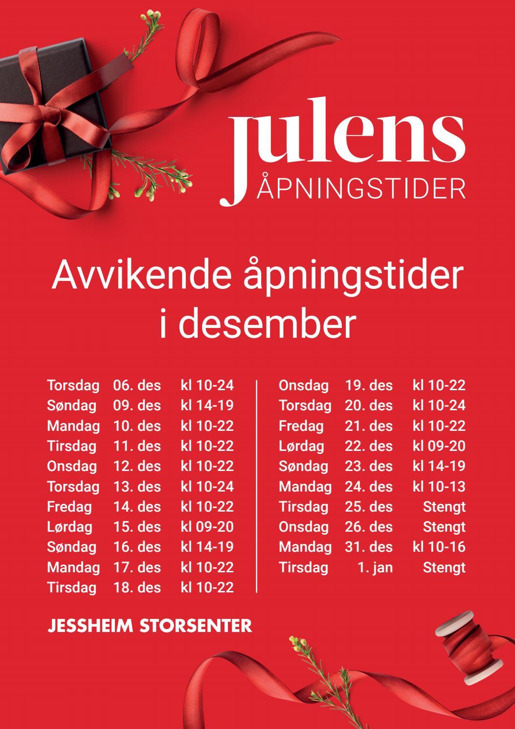 Jessheim Storsenter Juleåpent
