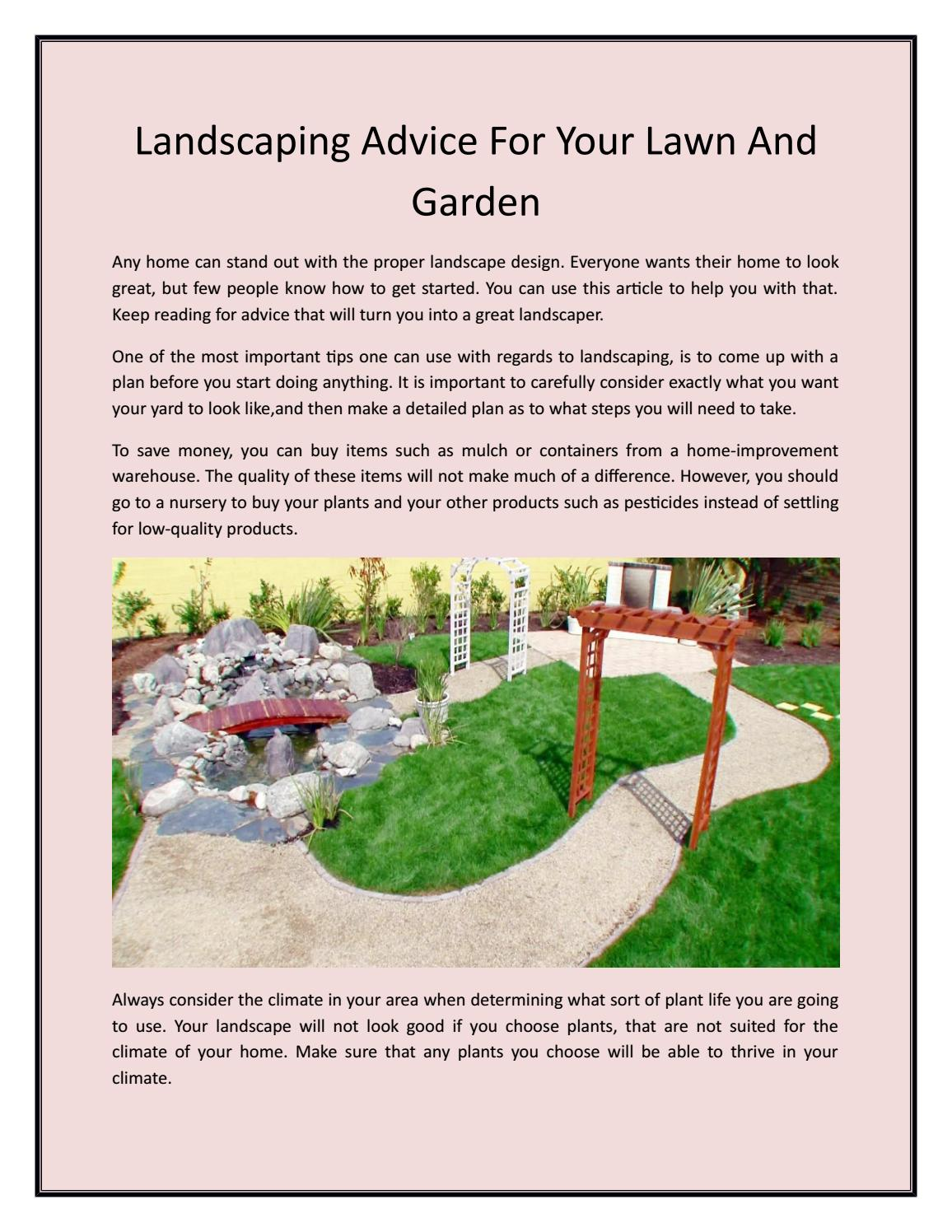 Landscaping Advice For Your Lawn And Garden By Johnson S