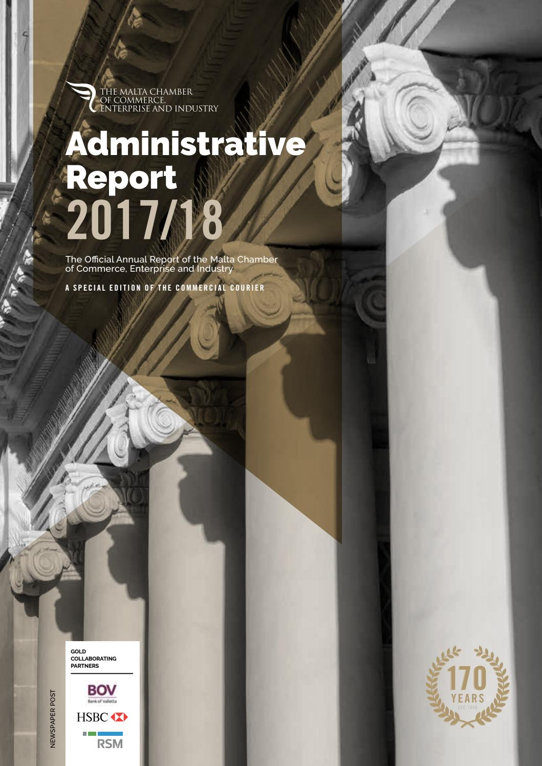 Malta Chamber Administrative Report 2017/2018 by Content House Group