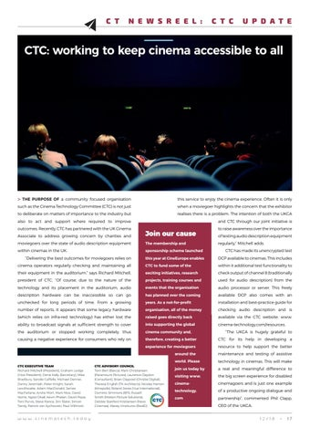 Page 17 of CTC: working to keep cinema accessible to all