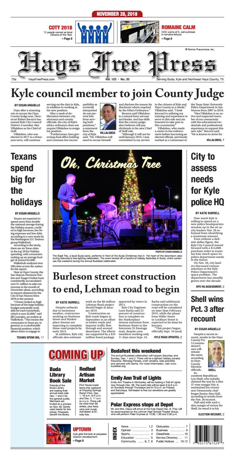 Hays Free Press November 21, 2018 by Hays Free Press/News
