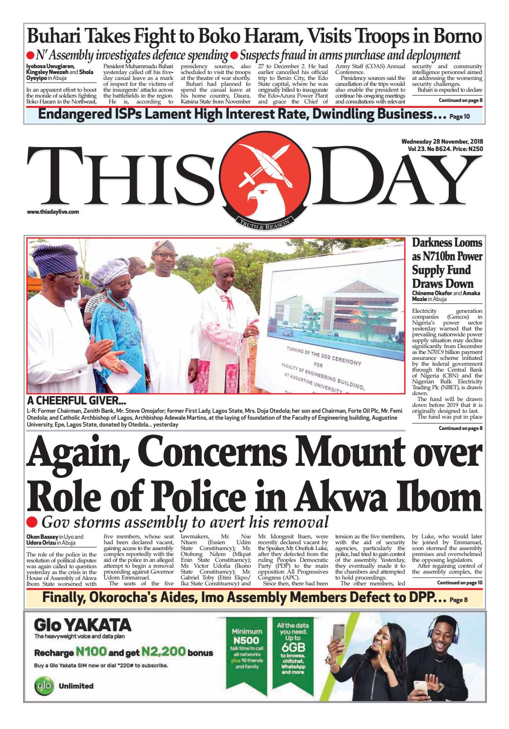 WEDNESDAY 28TH NOVEMBER 2018 by THISDAY Newspapers Ltd - issuu