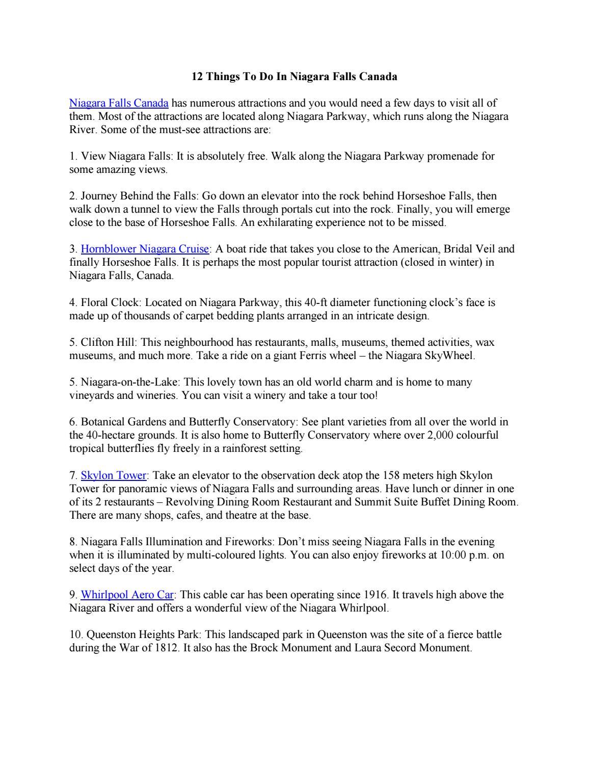 Things To Do In Niagara Falls Canada By ToNiagara