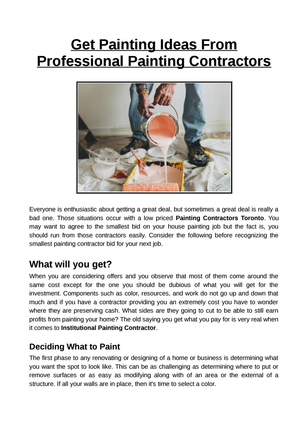 Get Painting Ideas From Professional Painting Contractors By Ontariopaintingcontractors Issuu