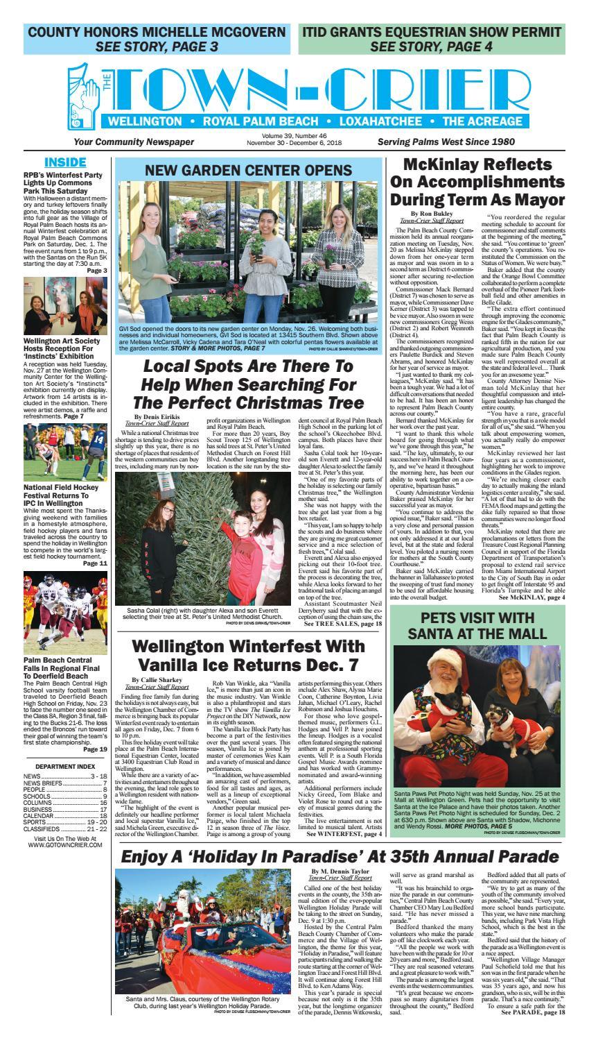 Town Crier Newspaper November 30 2018 By Wellington The Magazine Llc Issuu