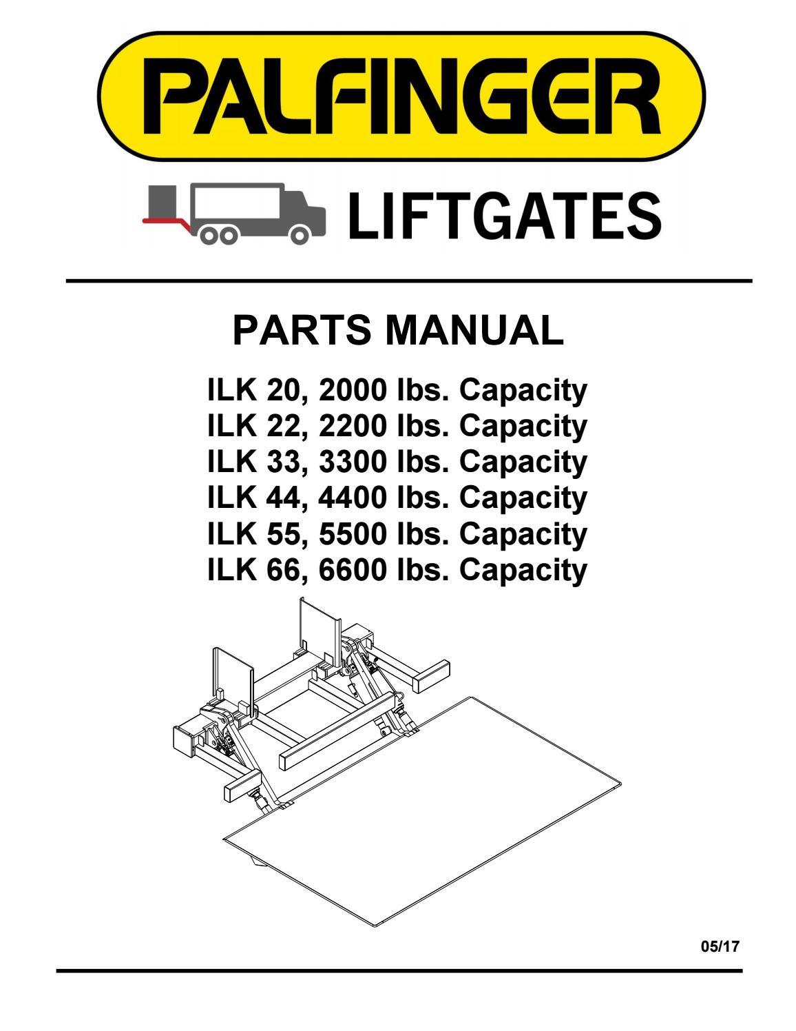 palfinger ilk-20, 22, 33, 44, 55, 66 liftgate parts manual