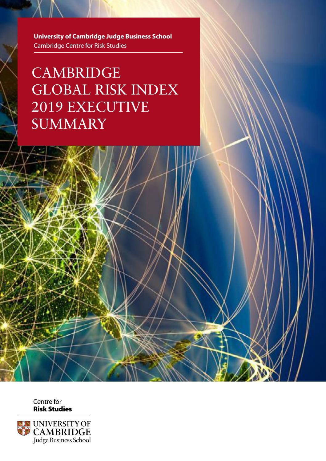 Cambridge global risk index 2019: Executive summary by Cambridge