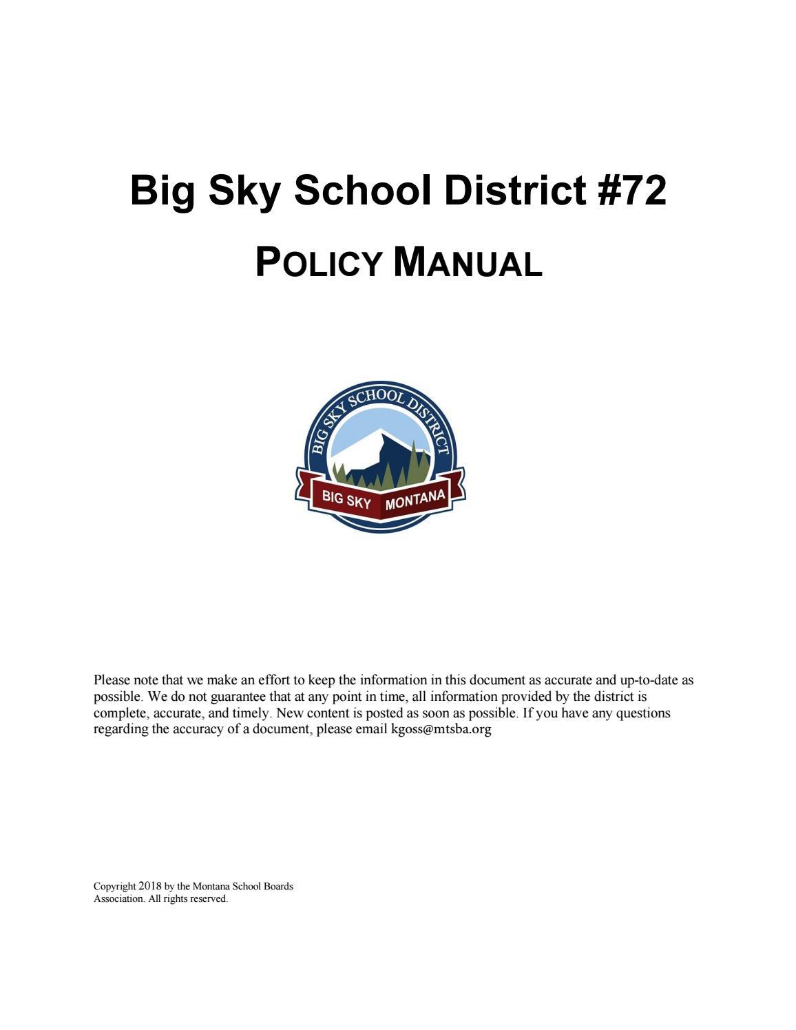 aced9ff77 Big Sky School District #72 Policy Manual by Montana School Boards  Association - issuu