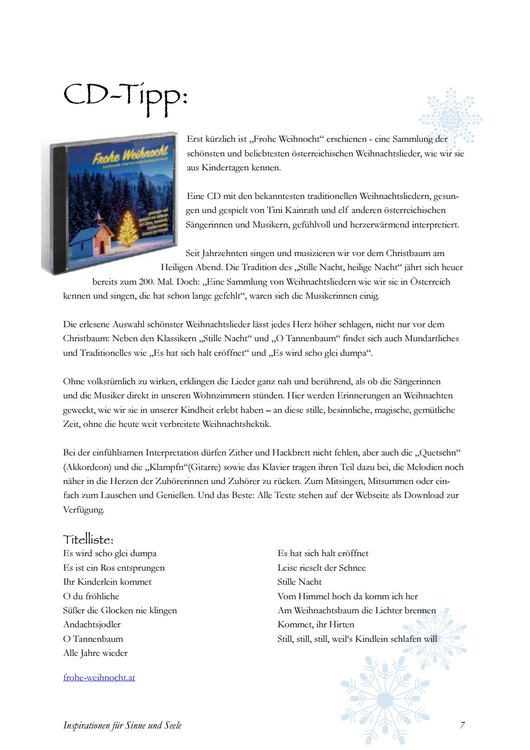 Weihnachtslieder Texte Sammlung.Inspirationen Für Sinne Und Seele Winter 2018 By Karina Schneider