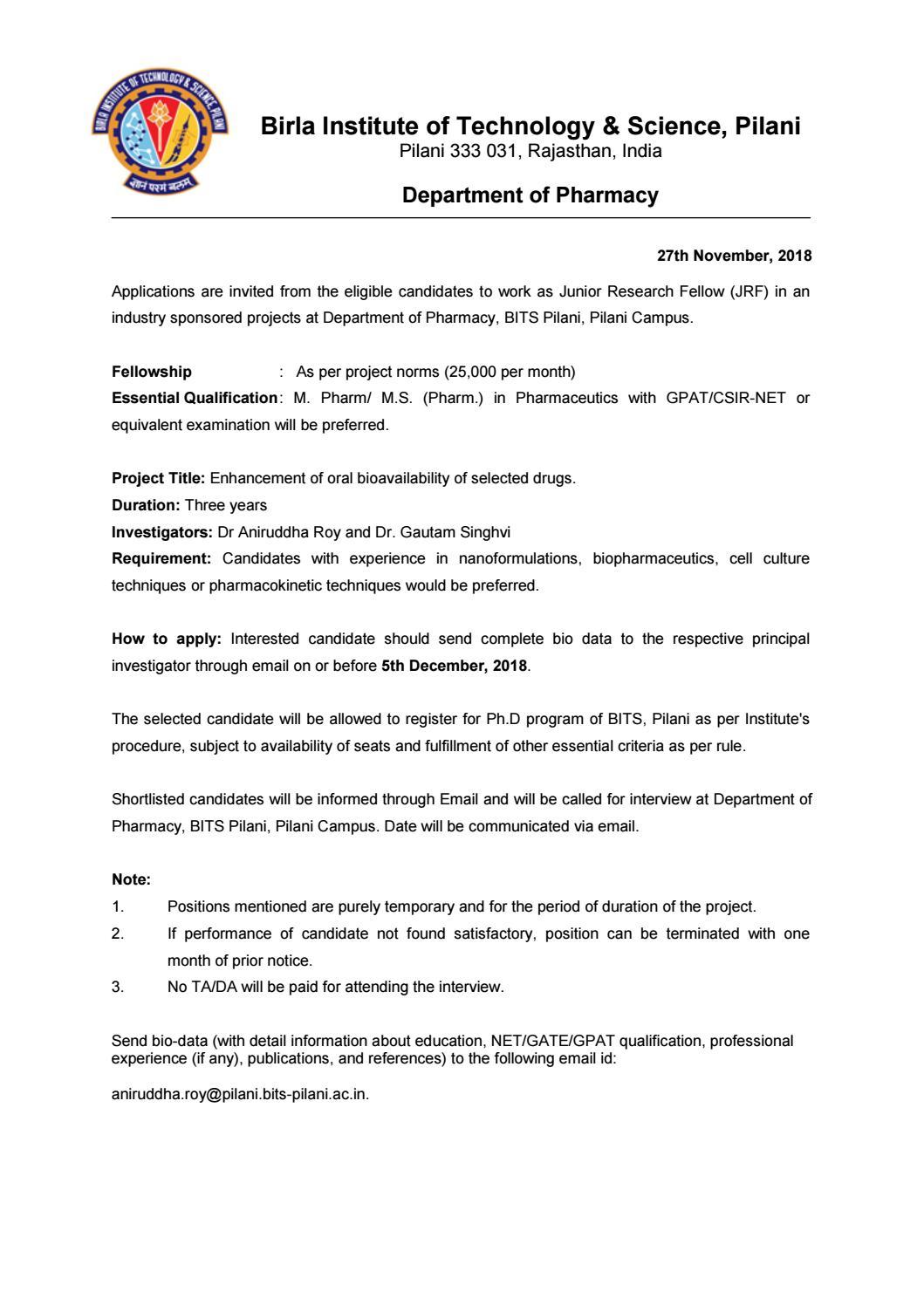 Pharma Jobs @ BITS PILANI, Chemistry Research Fellow Job Opening by