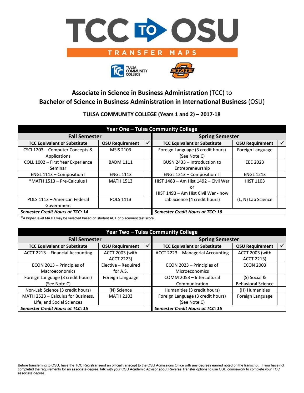 Academic Calendar Osu.Tcc To Osu International Business 2017 18 Course Transfer Map By