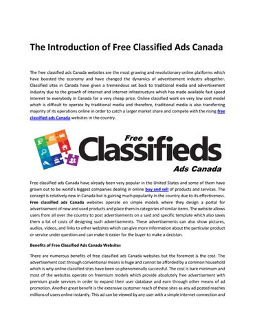The Introduction of Free Classified Ads Canada by catchfree - issuu