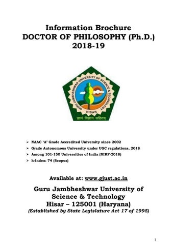 PhD Admissions 2018-2019 @ Guru Jambheshwar University of Science