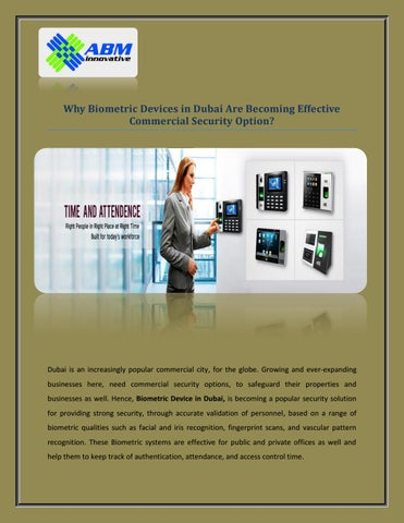 Why Biometric Devices in Dubai Are Becoming Effective Commercial Security  Option?