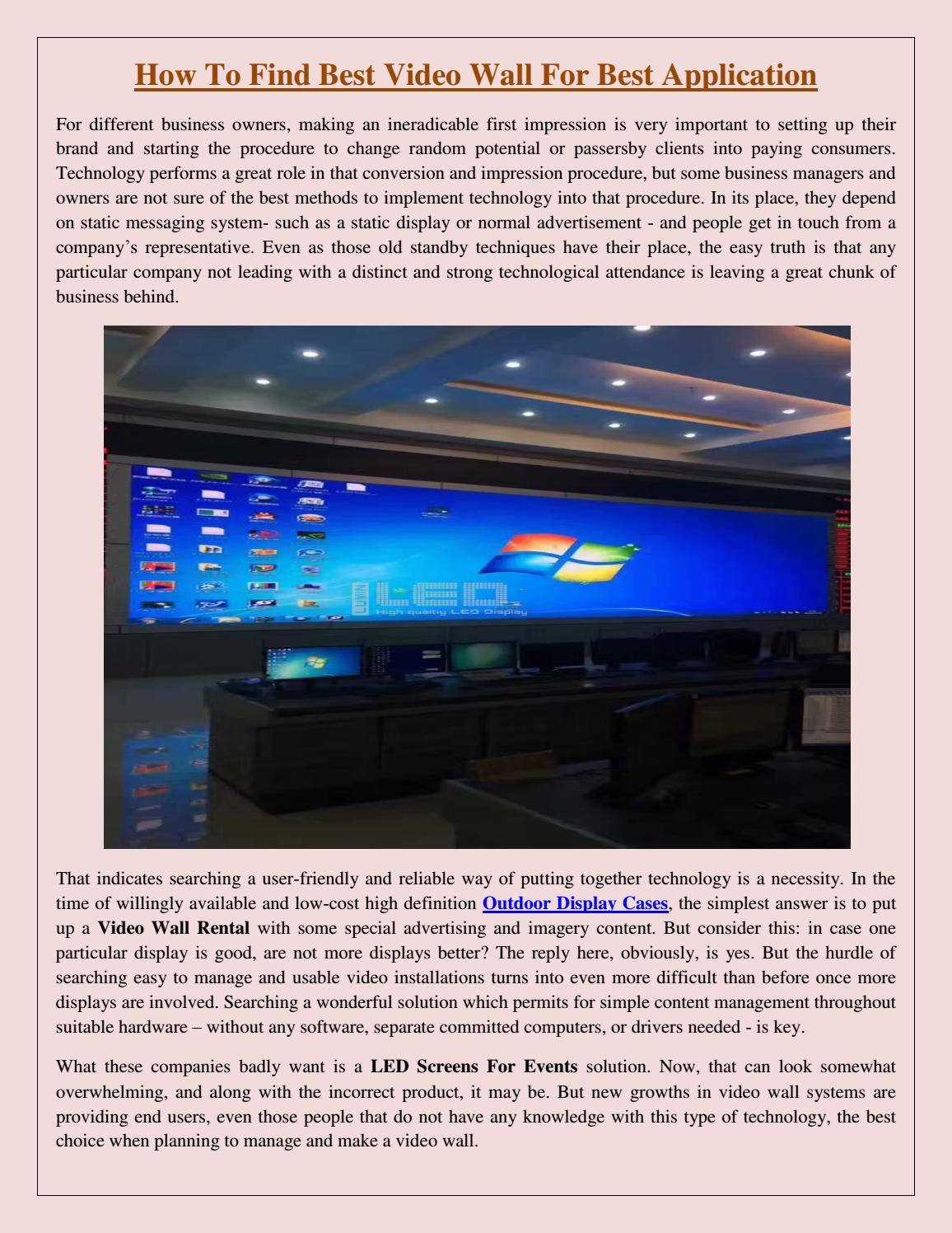 How To Find Best Video Wall For Best Application by