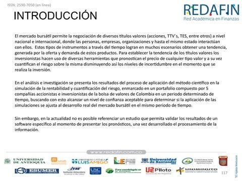 Page 117 of Validez del pronóstico por Simulación de Monte Carlo para pronosticar la rentabilidad de las acciones del mercado de valores colombiano