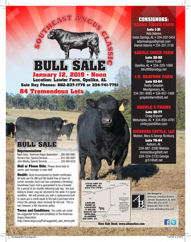 2018 Southeast Angus Classic Bull Sale Catalog By Ranch House