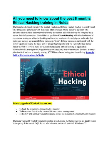 Live Project 6 Months Ethical Hacking Industrial Training