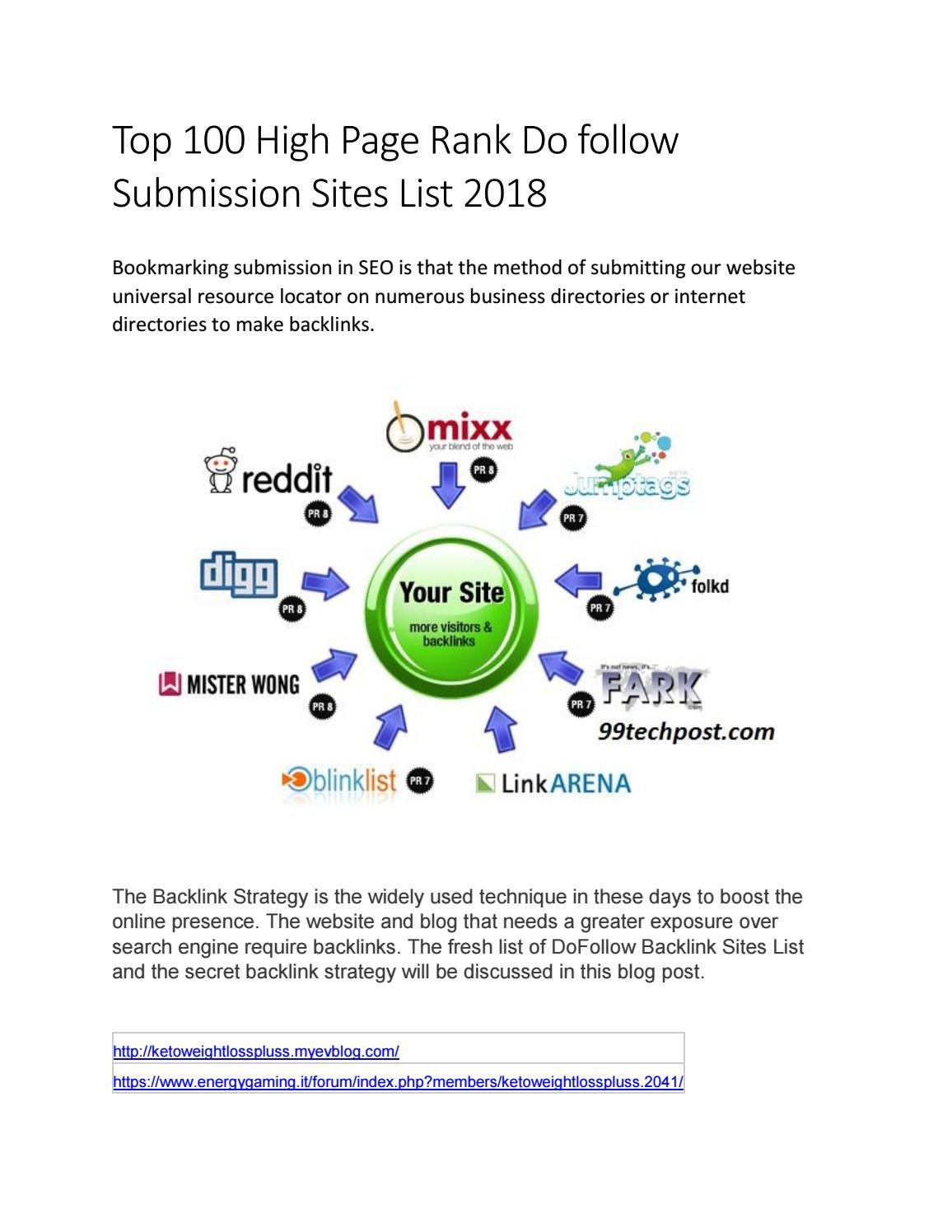 Top 100 High Page Rank Do follow Submission Sites List 2018