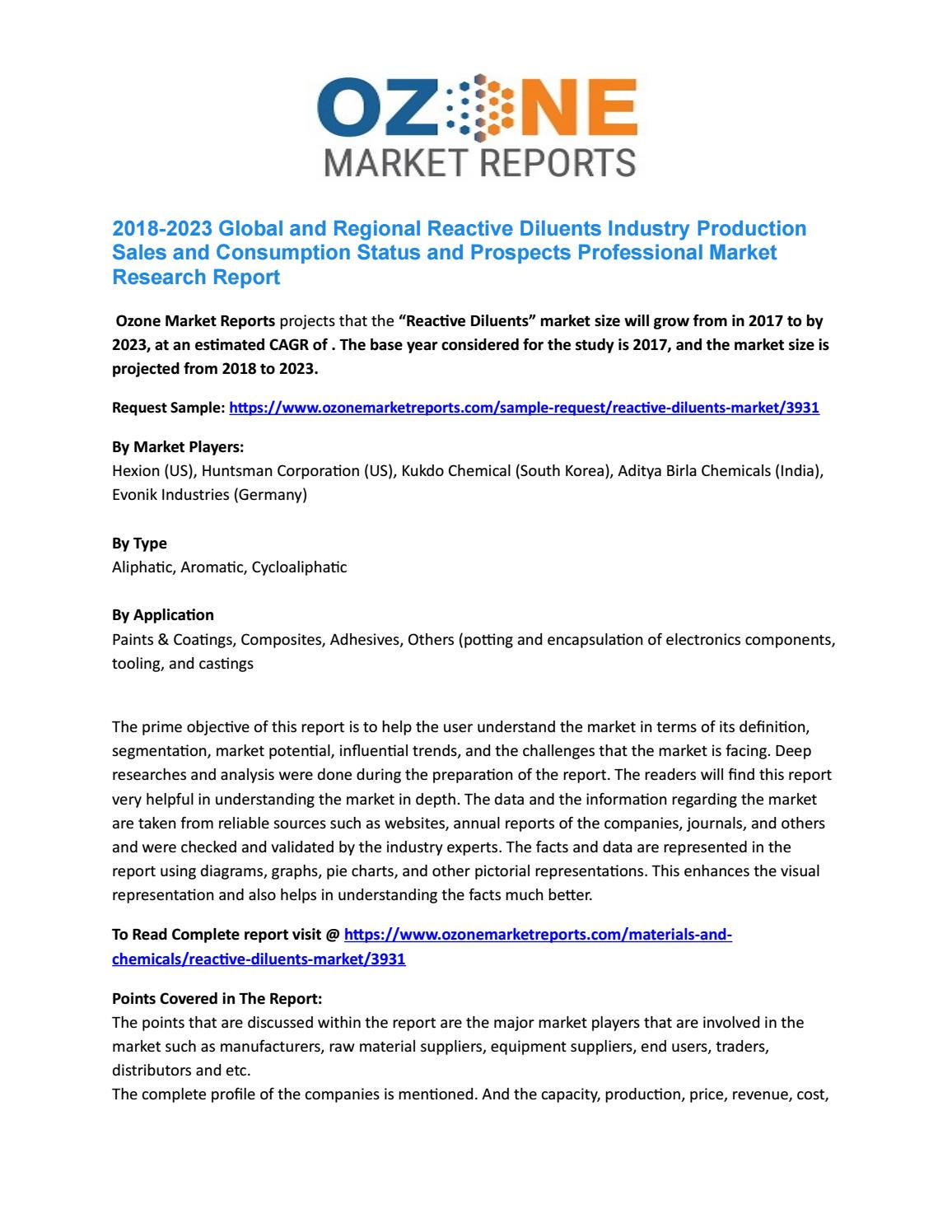 """Global """"Reactive Diluents"""" Market Analysis, Size, Share"""
