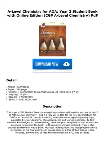 A-Level Chemistry for AQA: Year 2 Student Book with Online Edition (CGP  A-Level Chemistry) PdF