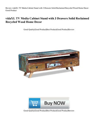 review vidaxl tv media cabinet stand with 3 drawers solid reclaimed