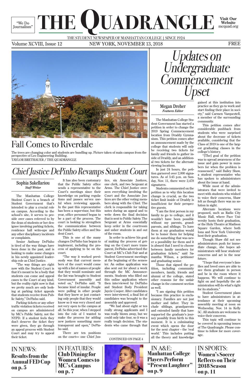 Issue 12, Fall 2018 - The Quadrangle by Manhattan College Quadrangle