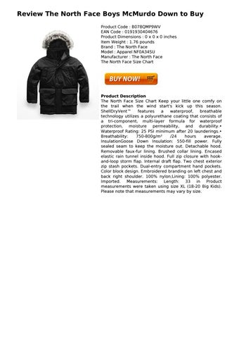The North Face Boys Mcmurdo Down To Buy By Conleylilian Issuu