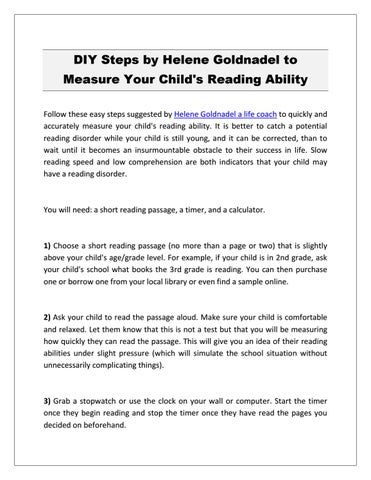 DIY Steps by Helene Goldnadel to Measure Your Child's