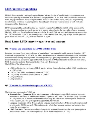 LINQ interview questions-PDF by mayankseo16 - issuu