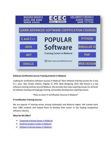 Software Certification Course Training Institute in Madurai
