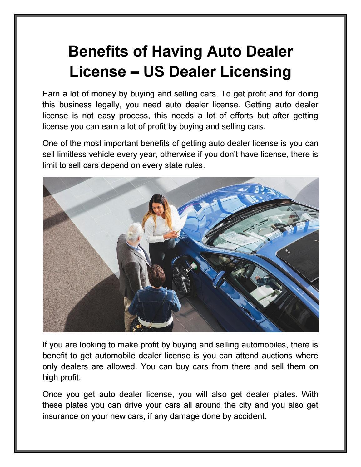 Advantages Of Having Auto Dealer License Us Dealer Licensing By