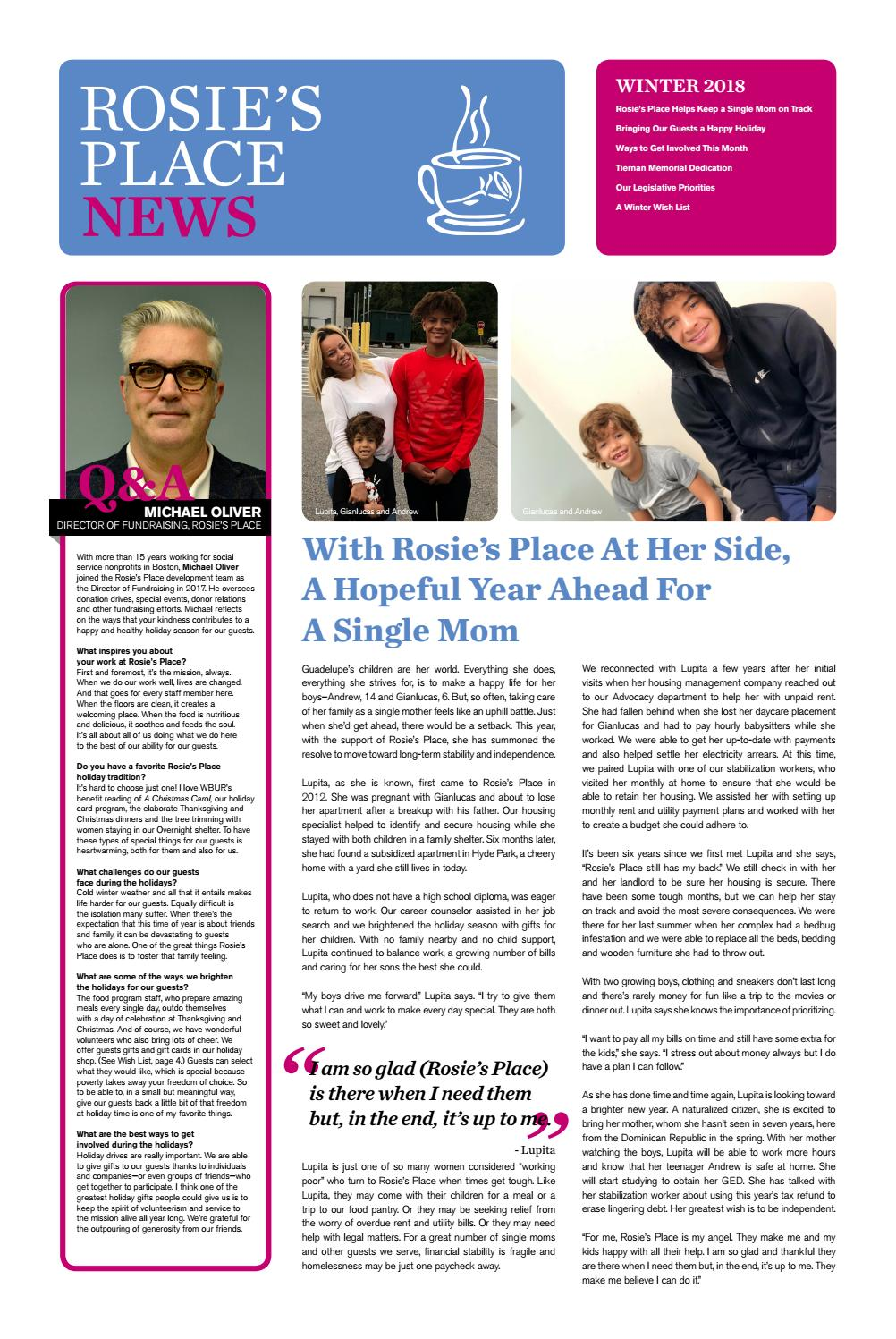 Rosie's Place Winter Newsletter 2018 by Rosie's Place - issuu