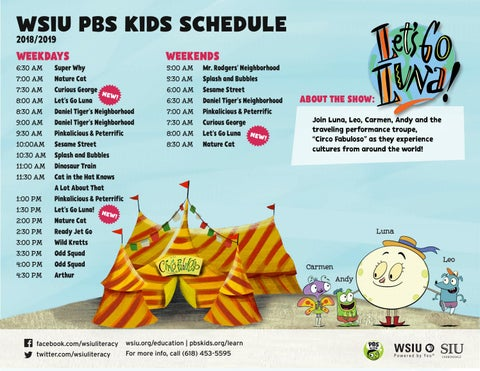 Pbs Schedule 2019 PBS Kids Schedule   Fall 2018 by WSIU Public Broadcasting   issuu